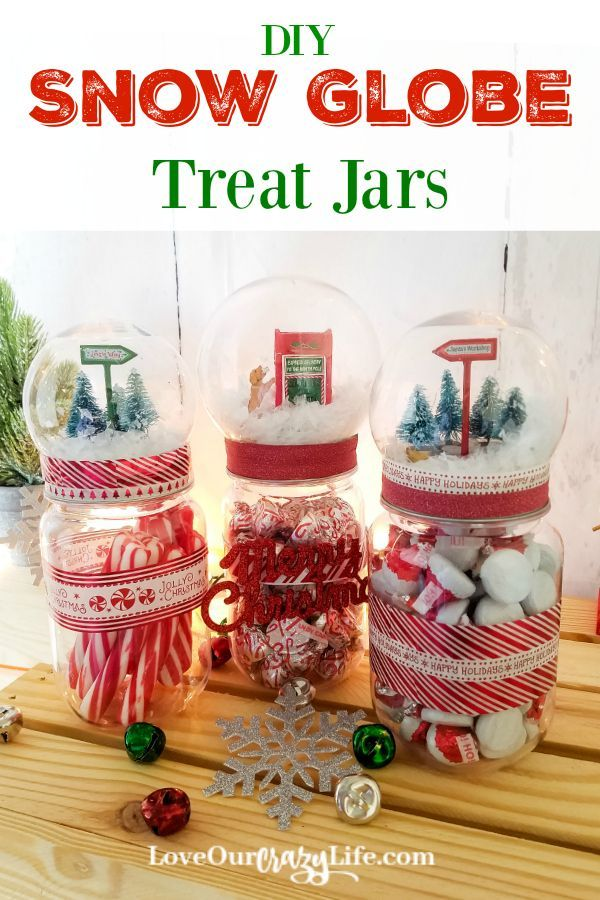DIY Snow Globe Treat Jars made using mason jars are a great Christmas craft. Check out this fun holiday DIY. Makes a great gift or decoration. #holidays #DIY #Craft  via @thebeccarobins