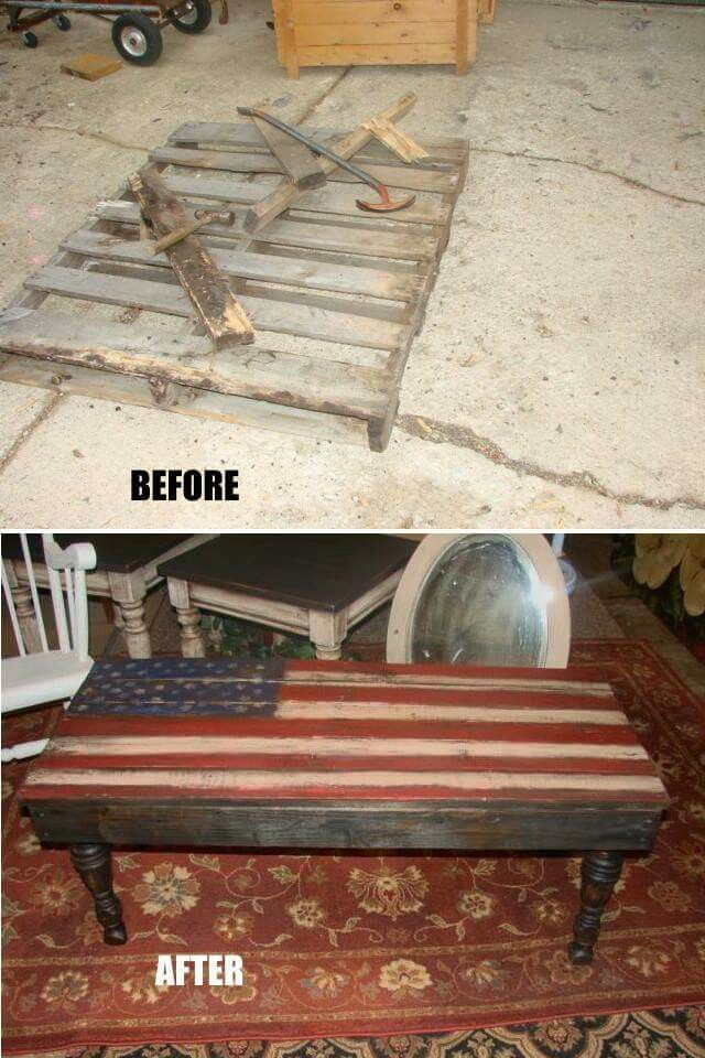 Flag painted coffee table out of pallets pallets for Painted pallet coffee table