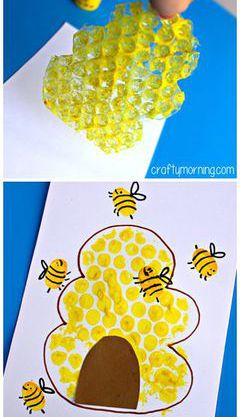 Bubble Wrap Beehive Done with Finger Print Kids Craft