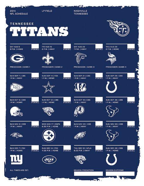 Tennessee Titans 2014 NFL Schedule