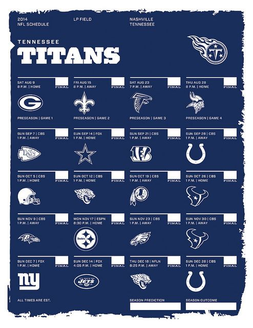 Tennessee Titans 2014 NFL Schedule Lets Get Our Game On!