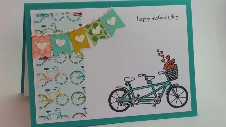 Buckets of love tandem bike happy mothers day handmade card