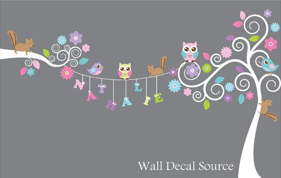 Swirly Tree Monogram Decal  Owl and Squirrel by WallDecalSource, $115.00