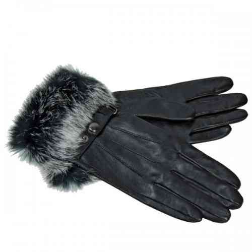 Cadelle Leather Fur Cuff Gloves - Black/Grey - White Apple Gifts