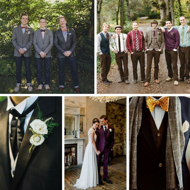Top right photo is my favorite - great color palette - just enough coordination. Top Five Grooms and Groomsmen Trends