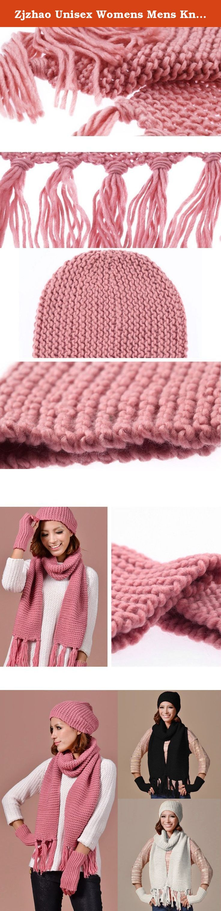 Zjzhao Unisex Womens Mens Knitted Ski Beanie Cap Warm Hat Scarf and Gloves Winter Set (Pink). 100% brand new and high quality Features: Thicken Knit, keep warm in winter Newly fashion design , warm and comfortable Perfect Christmas / New Year gift, birthday present for women lady girls It's Fashion, Creative, is a very useful accessory brighten up your look, also as a gift. Specification: Material: Knit, Cotton Blend Gender: Women/Young Girl Scarf Size: 151 x 29cm (Length x Width) Gloves...
