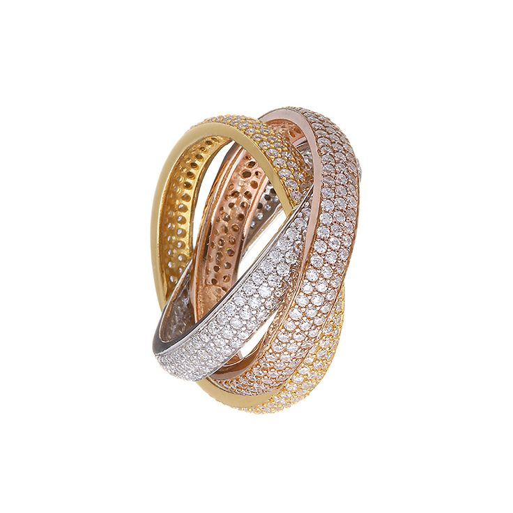 Sterling Silver Gold, Rose Gold and Silver Plated Ring from Empress Collection at www.LaurynRose.com