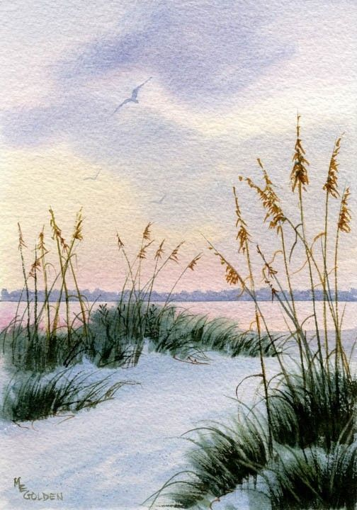 Dusk in the Sand Dunes and Sea oats by maryellengolden on Etsy, $20.00