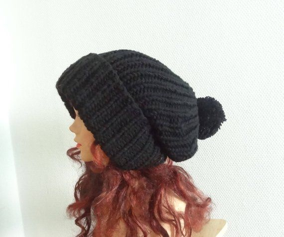 Super Slouchy Beanie Big Baggy Hat Slouchy with pompom Women Hat - Large  Men hat Oversized beanie winter hat big hat black winter hat COLORS 45cea974638
