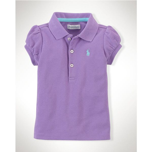 Cotton Polo Shirt ($125) ❤ liked on Polyvore featuring tops, polo shirts, purple top and purple polo shirts