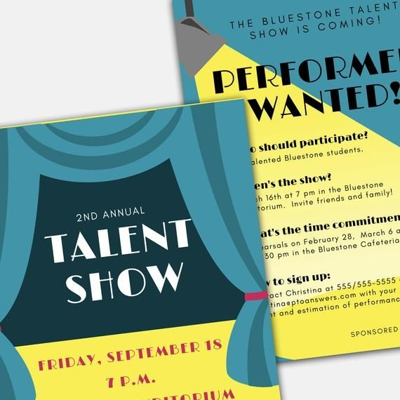 Talent Show Flyer Word And Pages Template Set For Pta Pto Church And Other Groups Diy Templat Flyer Talent Show Flyer Template