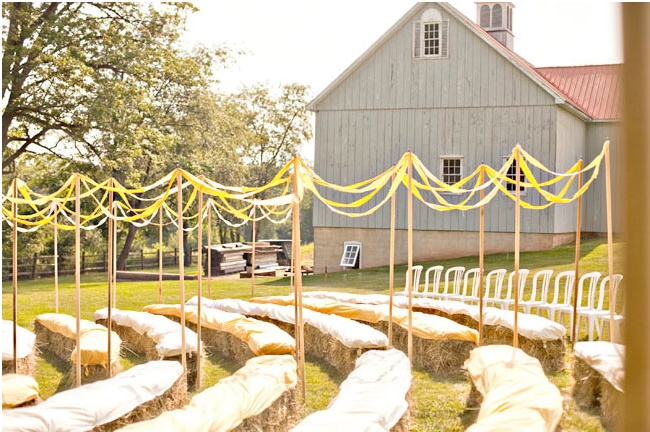 This is the seating we will do. Hay bales, blankets, and the aisle will be designated with ribbon and poles.