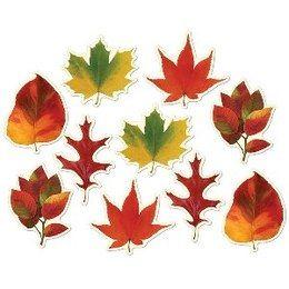 Decoratie Herfstblad mini cutouts -  Een set met 10 herfst bladeren. Afmeting: 10cm per blad. | www.feestartikelen.nl