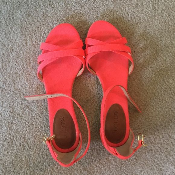 J. Crew Neon Flats Lightly used, good condition J. Crew Shoes Flats & Loafers