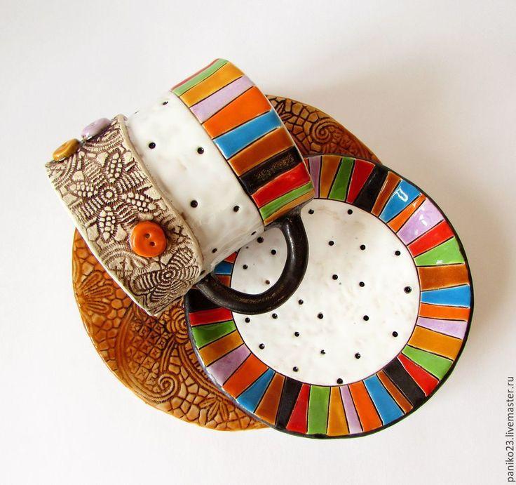 """Купить Керамический набор""""Pozitiff"""" - Керамика, чашка с блюдцем, чашка с росписью, чашка чая, чашка"""