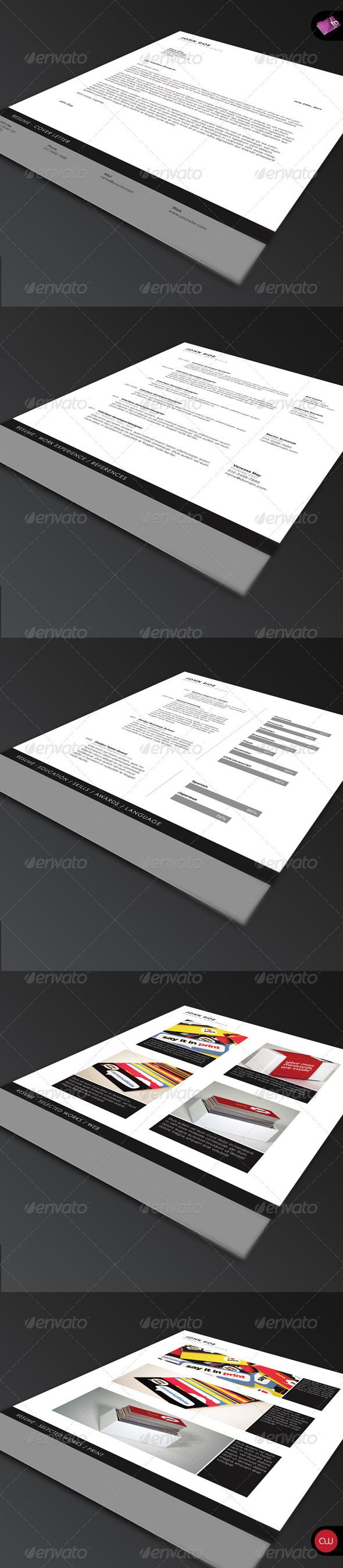 84 best print templates images on pinterest print templates buy resume set by isoarts on graphicriver modern and elegant resume based on the minimal series the package comes with 5 pages and a business card reheart Image collections