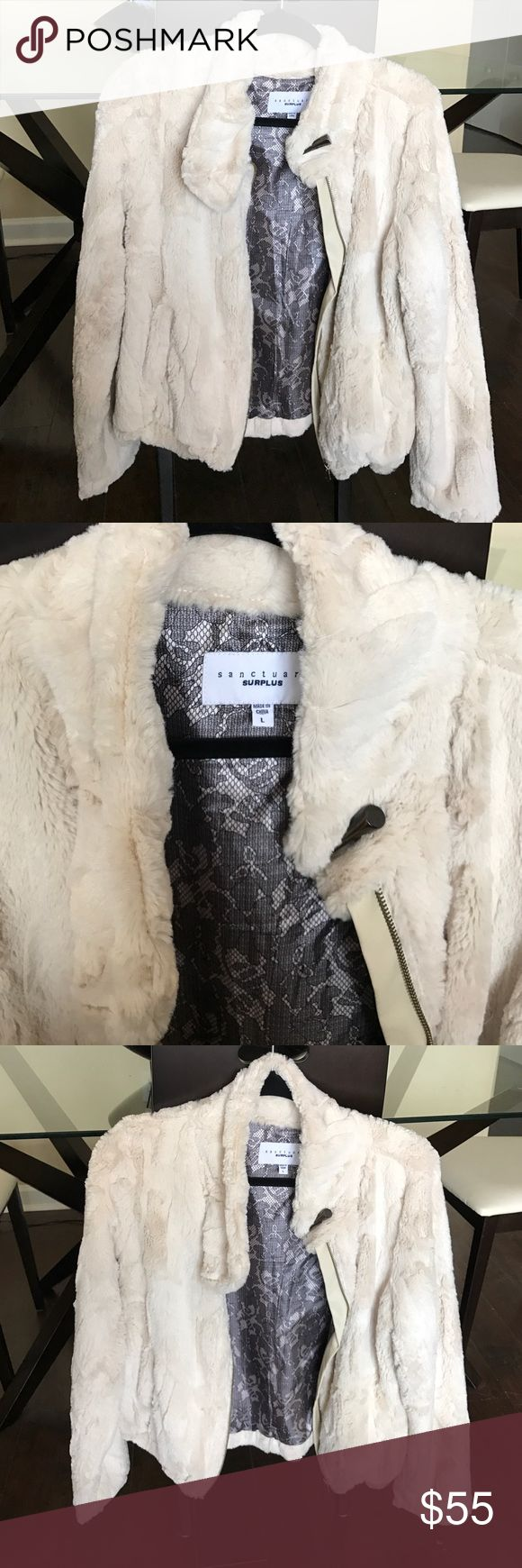 Posh faux fur zip up with toggle NEW and never worn but no tags. Super soft and warm but lightweight! Cream faux fur zip up with toggle closure. Sanctuary Jackets & Coats
