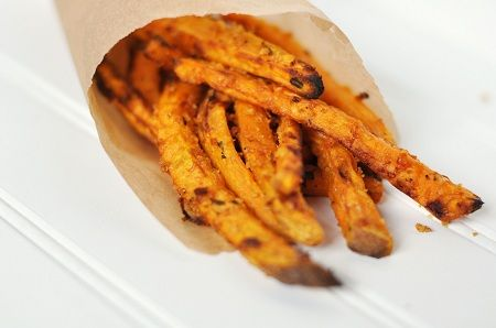 Oven Baked Panko Asiago Sweet Potato Fries.  Because I love sweet potato fries. Because I have two boxes of Panko crumbs that I need to find a use for.