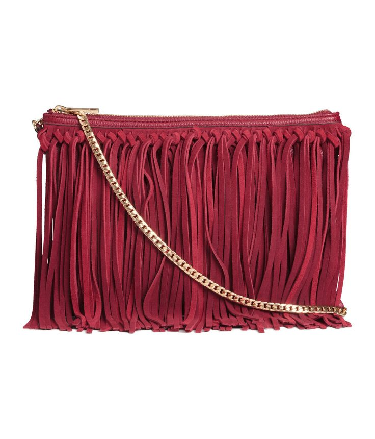 Shoulder bag in grained imitation leather with genuine suede fringe. | H&M Gifts