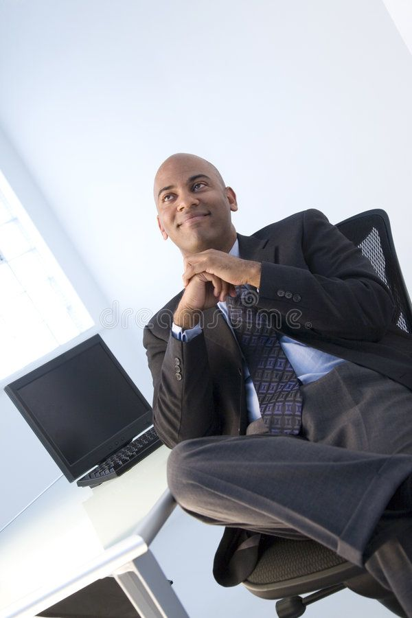 Happy Black Businessman Portrait Of Smiling Black Businessman Reclining In Chai Ad Businessman Portrait Ha Happy Black Business Man Stock Images Free