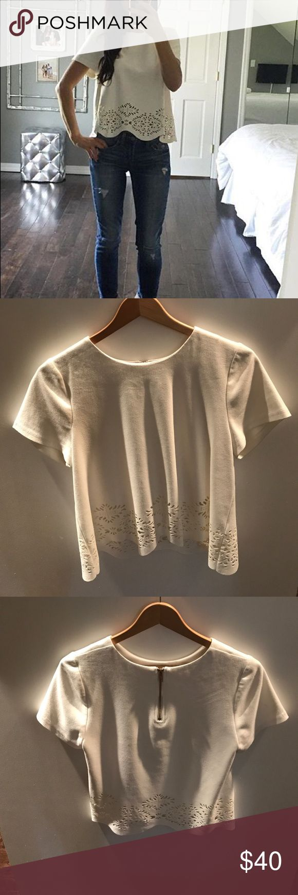 Design Lab off white scalloped shirt top Worn once . Size small. excellent condition design lab Tops