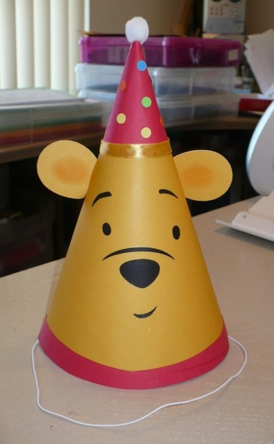 Winnie the Pooh birthday party hat - would be adorable to do all the characters!