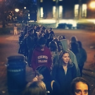 Looks like it's Thanksgiving dinner night at Dickinson! Line goes out the door of the HUB.