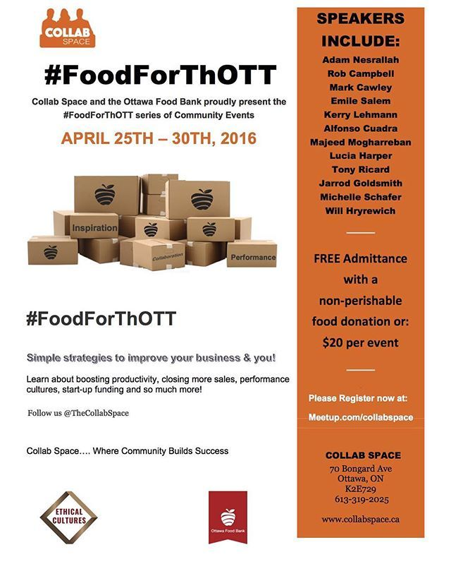 #FoodForThOTT is a series of community events to help your business and you! Link in bio. #Ottawa #ott #613 #yow #ottlife #ottliving #ottcity #ottbiz #entrepreneur #networking #smallbusiness #smallbiz #nepean #startups #businessmarketing #cowork #coworking #community