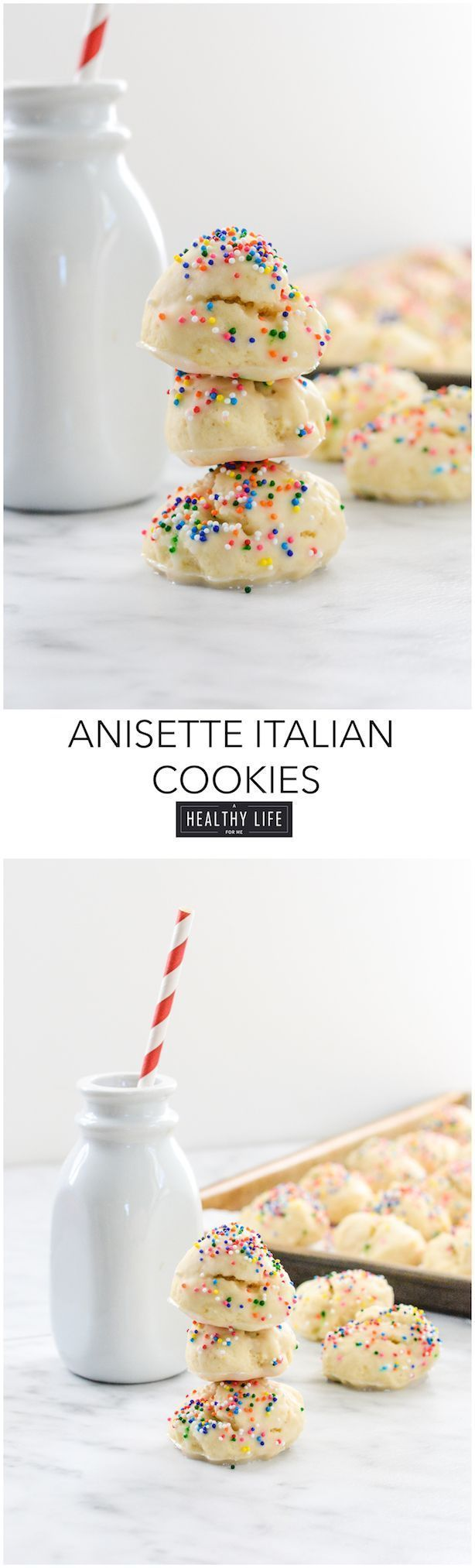 Anisette Italian Cookies are a traditioanl italian cake like cookie that is covered with a shiny glaze and colorful sprinkles.  Quick and easy to make with just a few ingedients one being anise extract that gives these cookies their amazing flavor. - A He