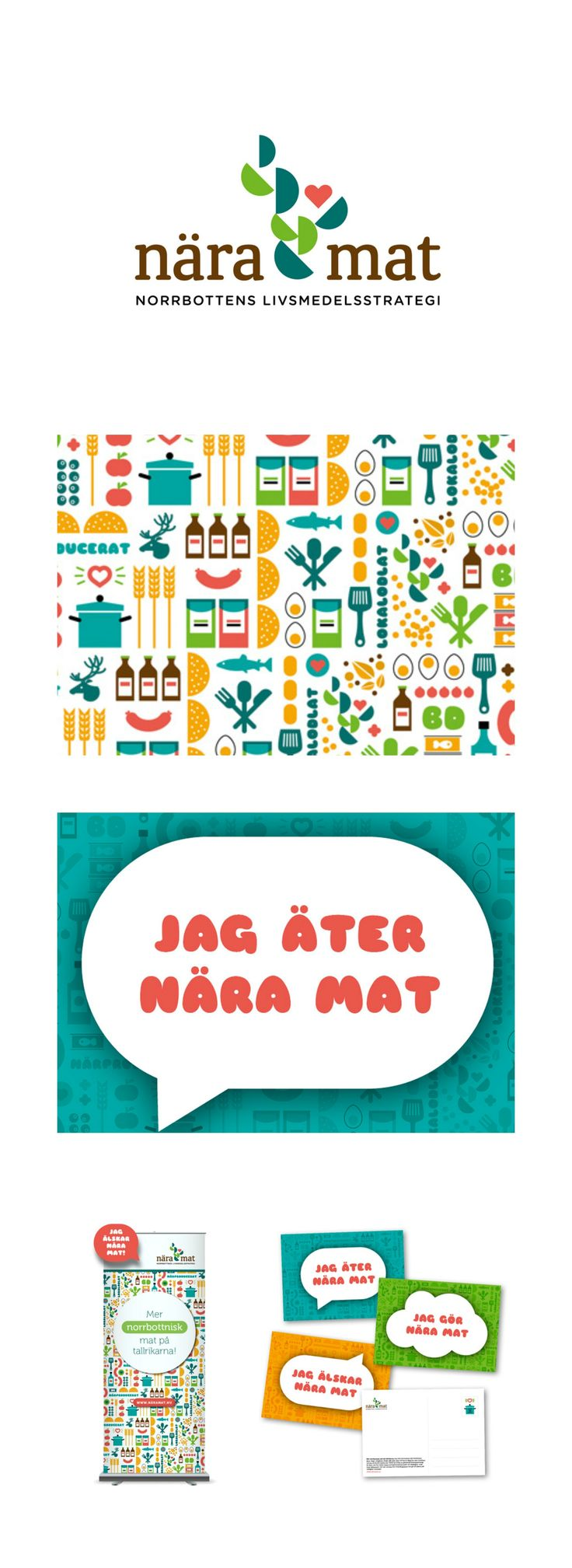 Web Design And Pattern Design to Nära mat.  In a partnership with Smeder Ord & Tanke, we worked with Nära Mat, Norrbotten food strategy - a project run by LRF Norrbotten, County Administrative, Norrbotten County Council. We have designed the logo, visual identity and design as well as produced invitations, Web and presentation materials.