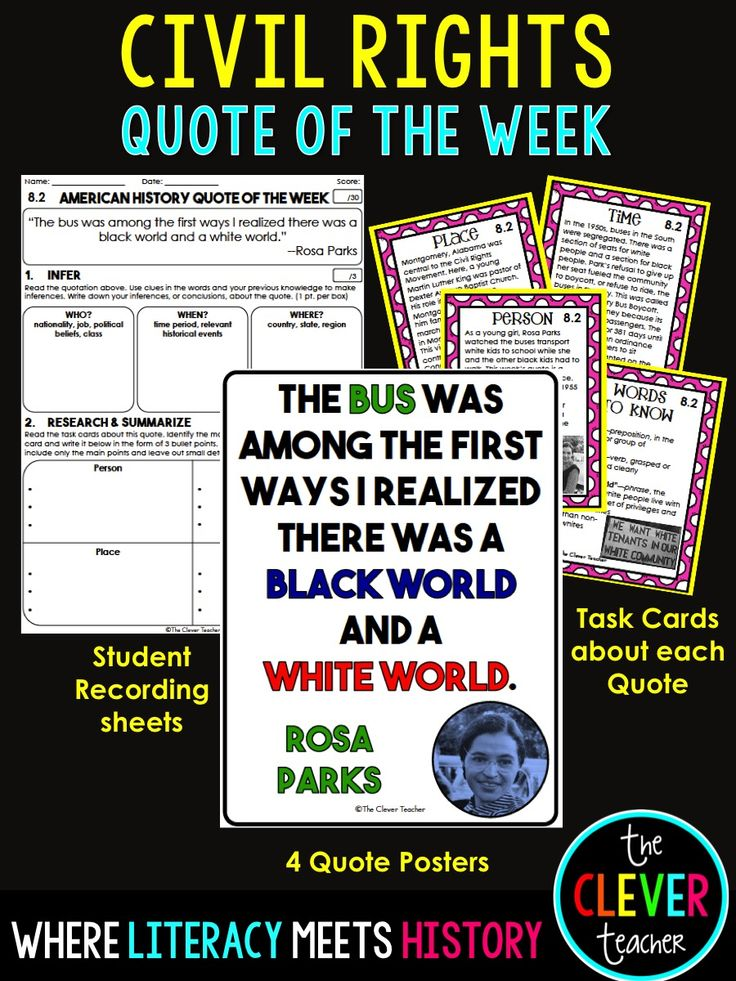 Civil rights worksheets for elementary students
