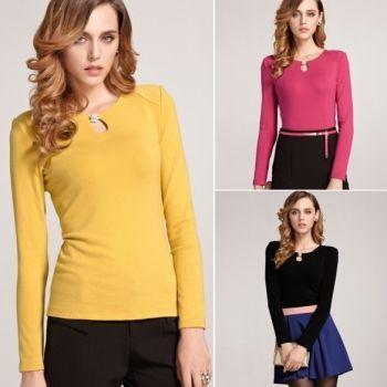 Kobiet Z Długim Rękawem Czystego Koloru Ciepła Koszula Podstawy Topy Bluzki
