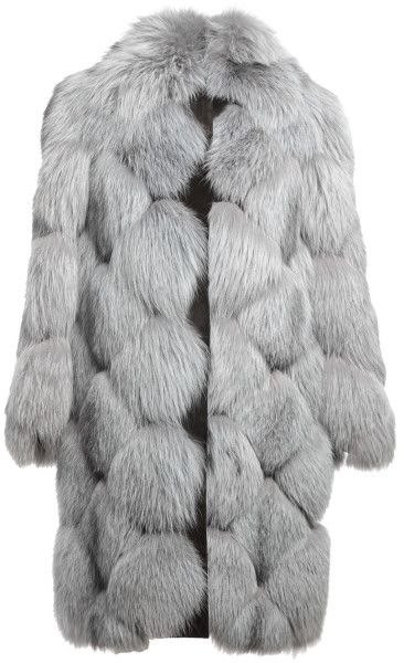 Цвет, фасон, лисичка!!  *******  Grey blue fox fur and suede blend 'Lynn' coat from Liska featuring two lapels, quilted stitch detailing, a concealed front fastening, oversi...