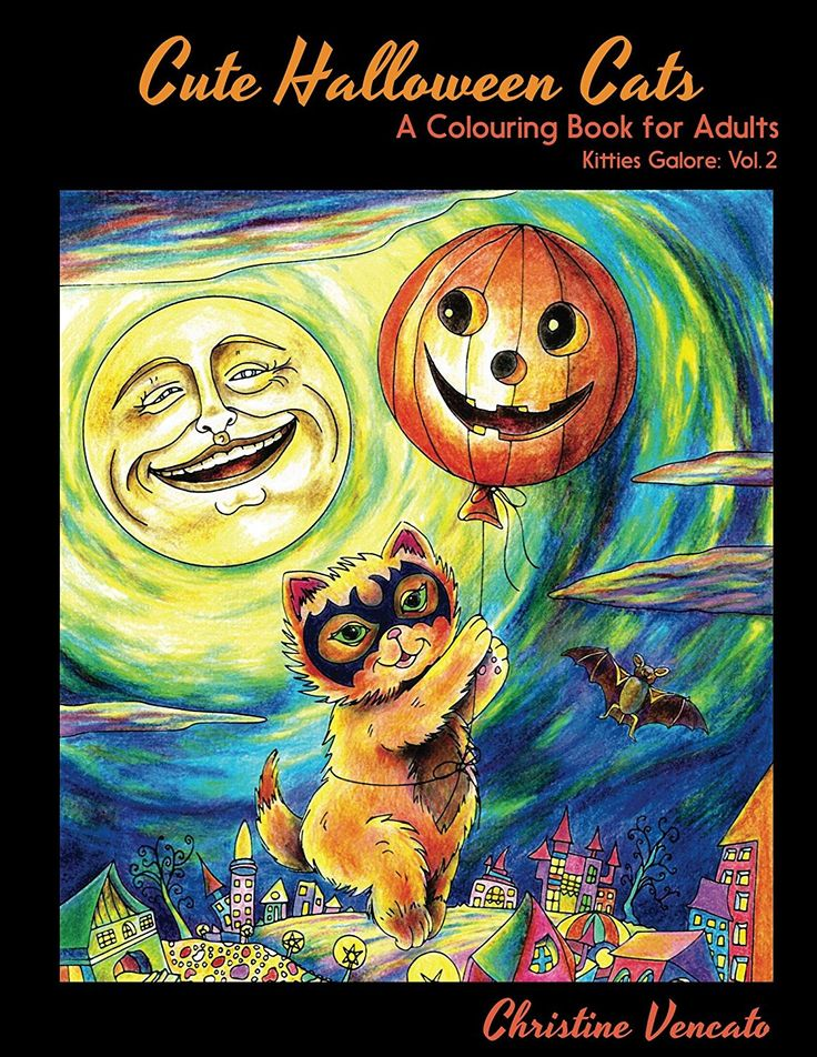 Cute Halloween Cats A And Kittens Noninteractive Colouring Book For Adults