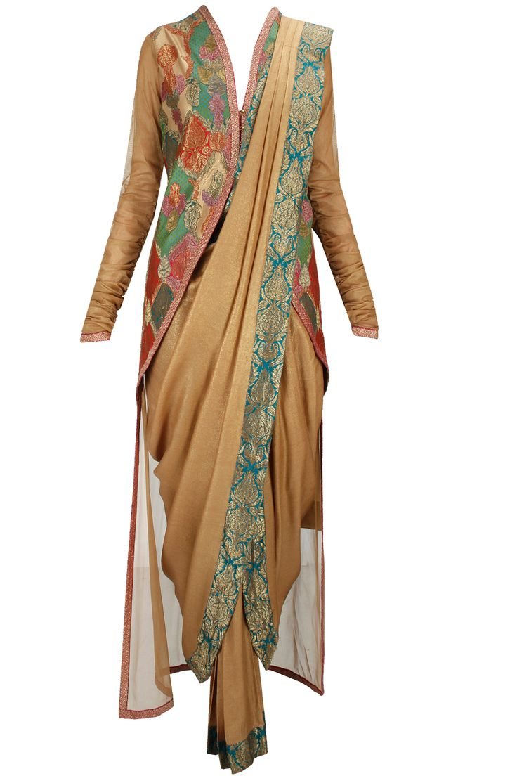 Burnished gold dhoti sari with churidaar and applique high-low blouse available only at Pernia's Pop-Up Shop.
