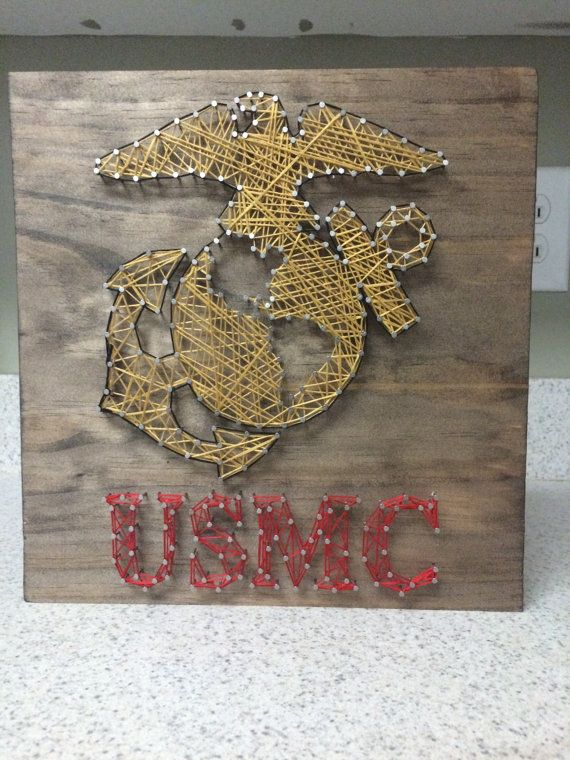 Marine Corps EGA String Art Wood Sign-Made to by CuseyCustomCrafts