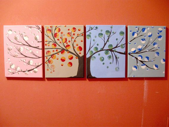 "landscape tree painting canvas triptych wall art ""Seasons II"" pop abstraction contemporary art tree of life blossom 36 x 12 """