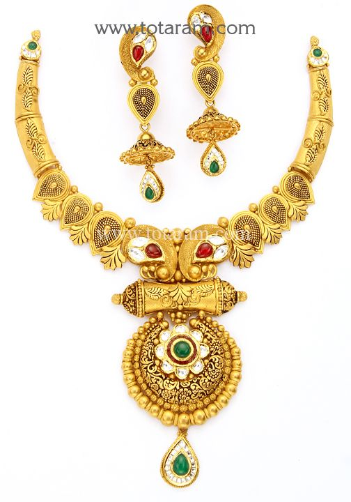 22K Gold Antique Necklace & Drop Earrings Set with Stones - GS2838 - Indian Jewelry Designs from Totaram Jewelers