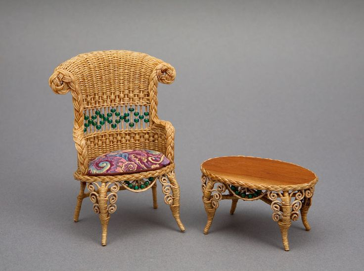 Good Sam Showcase of Miniatures: At the Show - 1860s arm chair and coffee table with natural patina.