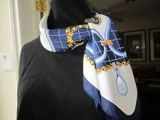 "MUST DE CARTIER Authentic 33"" Square Silk Scarf - Beautiful Blue & White"