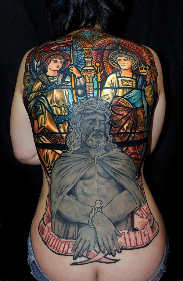 That's one sick back piece by Mikael de Poissy! Awesome job there. French Tattoo Scene. #tattoo #tatttoos #ink