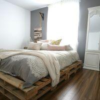 fabriquer un lit en palettes / palette bed with a shabby chic look. Macramé wallhanging