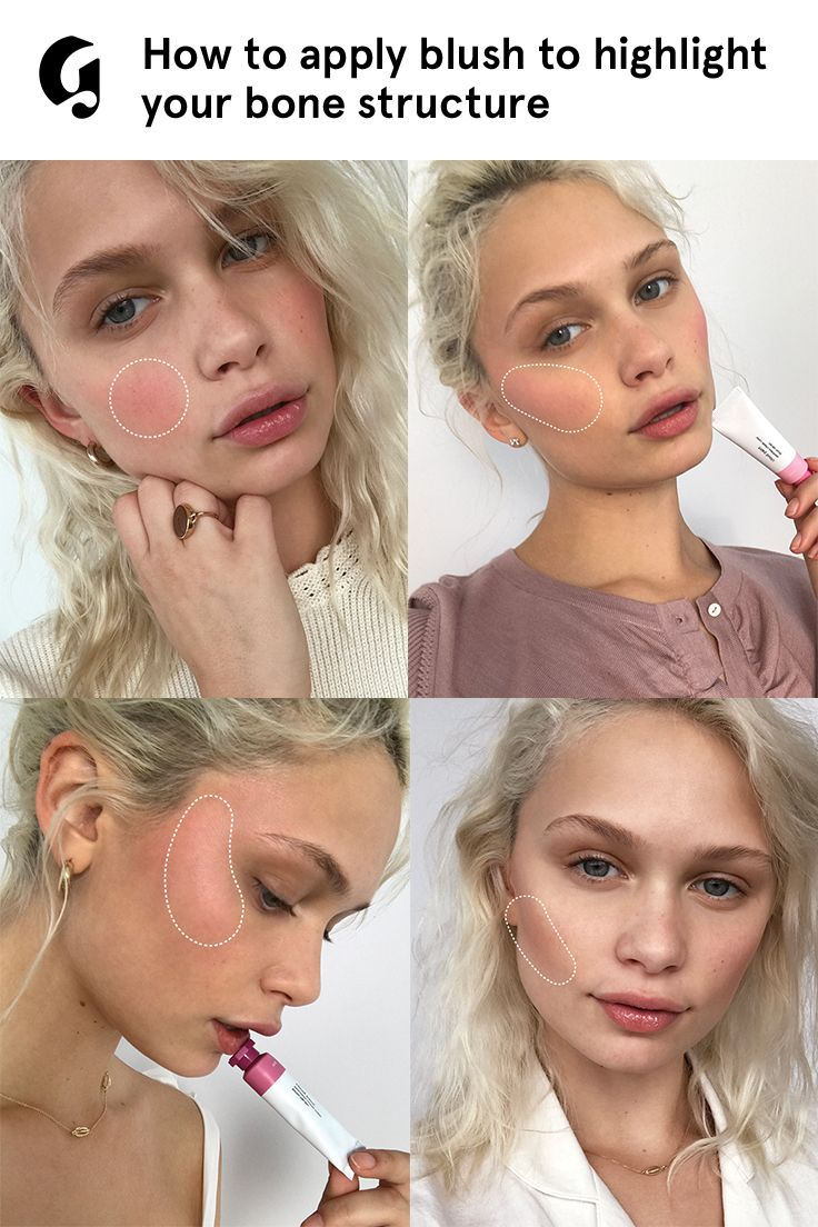 "Four easy blush looks that go on with fingertips for a lit-from-within glow. Try Glossier Cloud Paint in Dusk in the hollows of your cheeks for a simple way to ""nontour."" Only at Glossier.com"