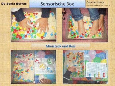 Autismus Arbeitsmaterial: Ministeck und Reis: sensorische Box mit Kognition