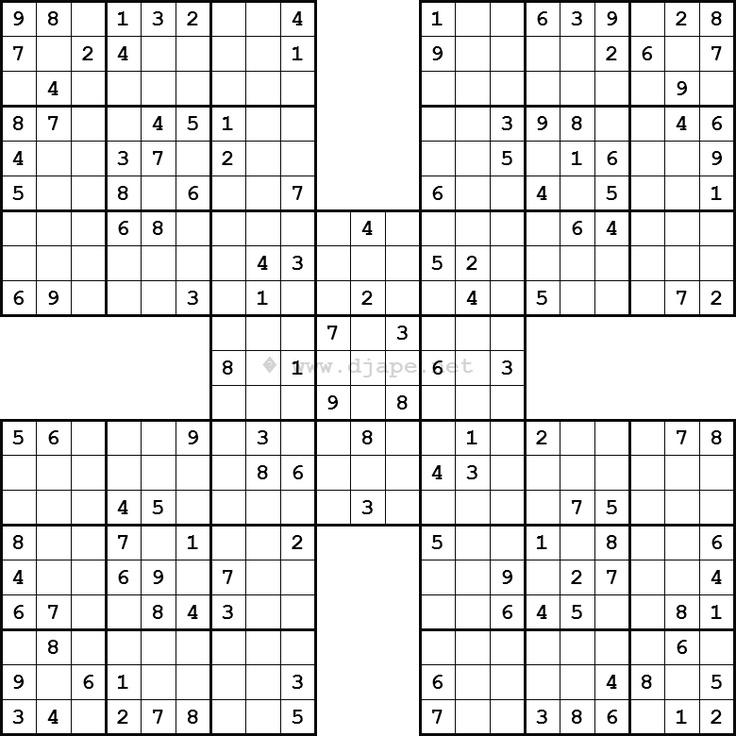 Samurai Sudoku... free! Every Tuesday and every Saturday a