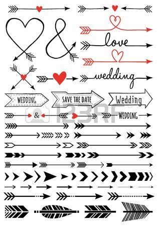 flèches de mariage dessinés à la main, ensemble d'éléments de conception de vecteur