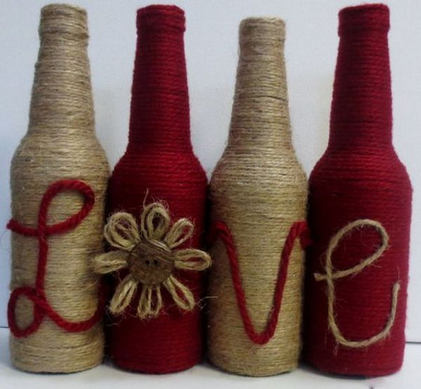 Twine Wrapped Bottles Dark Red and Twine