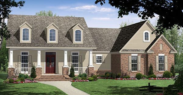 House Plan 59092 | Country Craftsman Traditional Plan with 2250 Sq. Ft., 4 Bedrooms, 3 Bathrooms, 2 Car Garage