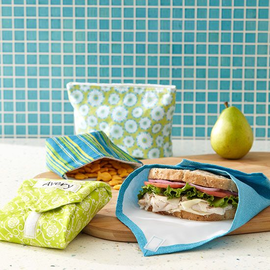 Bid plastic bags good-bye. With a little time and less than a yard of fabric, you can make your own washable, reusable snack bags and sandwich wraps for meals on the go. Get our free printable template to create your own pers