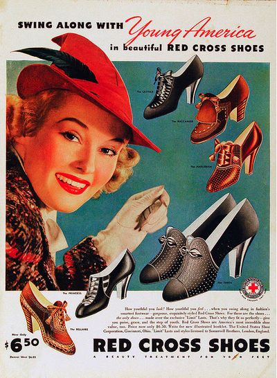 """Red Cross Shoe Advert (1938) (some how """"swinging"""" just doesn't go with 'red cross shoes'"""